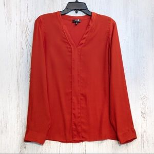 The Limited burnt orange long sleeve blouse